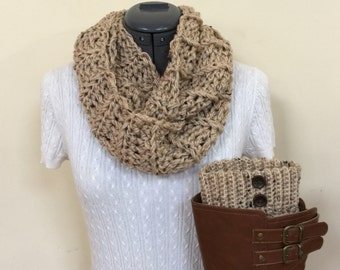 Boot cuffs with infinity scarf - Oatmeal
