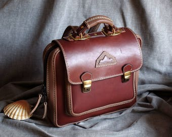 Briefcase, brown leather backpack satchel and taupe