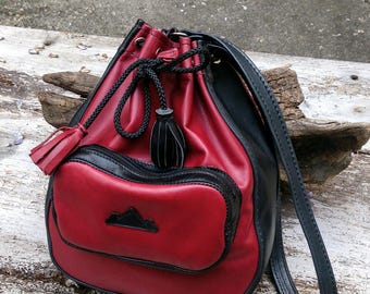 handmade black and red leather pouch