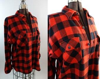1940s red buffalo plaid wool flannel button up King Kole XL 40s rockabilly hunting coat hunting jacket cozy oversized boyfriend top festival