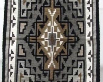 Native American, Navajo Two Grey Hills Weaving, 1970's, #1022