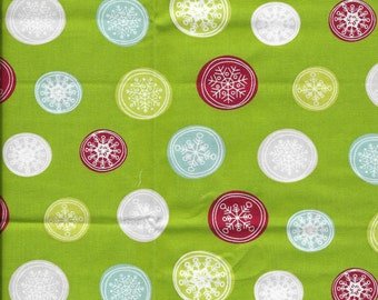 New Multi Color Snowflake Buttons on Green 100% cotton fabric by the Fat Quarter