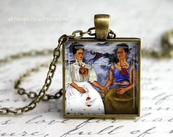 "Frida Kahlo Jewelry,  Frida Kahlo Necklace, ""Two Fridas"", Art Jewelry,  Famous artist, Artist Pendant, Frida Gift, Gift for Artist"
