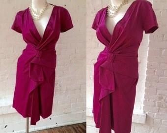 Alberta Ferretti Raspberry Rose Dress