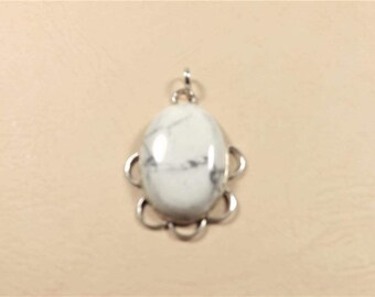 Sterling Silver Pendant - Polished White Howlite - 925 Sterling Silver - Fine Estate Jewelry - Jewelry Supplies