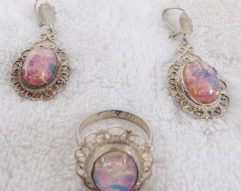 Now 1/2 Price! Beautiful Vintage Silver and Opal Ring and Pierced Dangle Earrings Demi-Parure