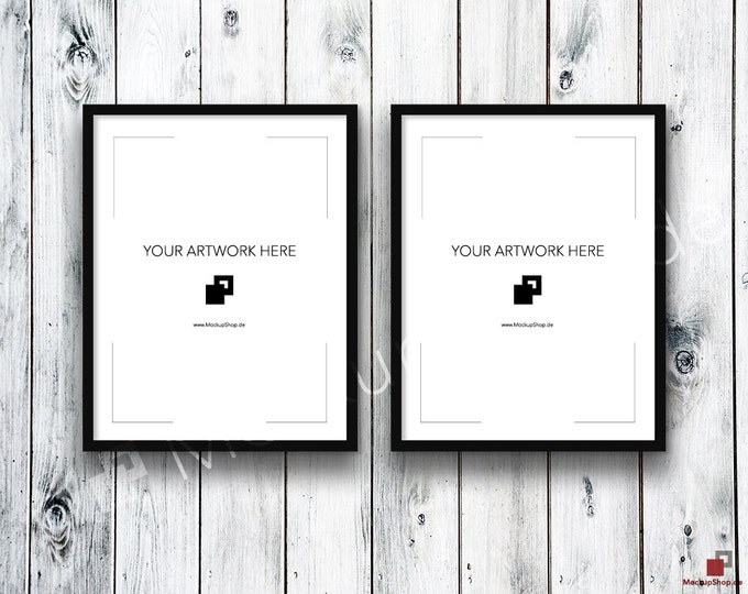 11x14 Set of 2 FRAME MOCKUP BLACK / Styled Photography Poster Mockup, old wooden grey wall, Framed Art, Instant Download / Frame Mockup