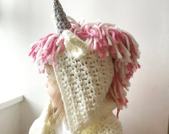 Crochet unicorn hooded scarf