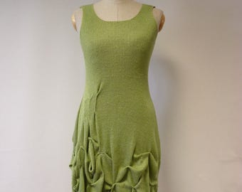Special price. Casual knitted green linen dress, M size.
