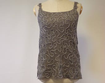 Sale. Summer artsy grey linen top, M size. One-of-a-kind.