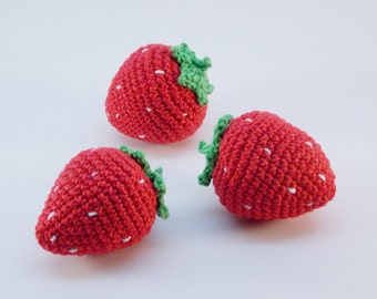 3 Piece- Crochet strawberry ,rattle,teether teeth, play food, kitchen decoration, eco-friendly toys, Pretend Play, Waldorf toys, Baby gift