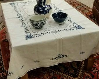 Vintage 50s Handmade Embroidered Blue and White Tablecloth Rustic European Cottage Retro Shabby
