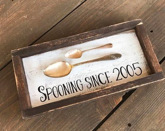 Spooning since sign, home decor, rustic home decor, wedding gift, wall-art, custom year wood sign, couples gift, anniversary gift, wood sign