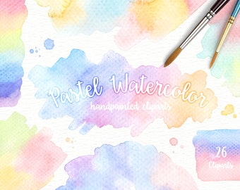 Pastel Watercolor Splashes Clipart, Hand painted, brush strokes, unicorn, abstract watercolour, background pink, Brush Strokes, Invitation