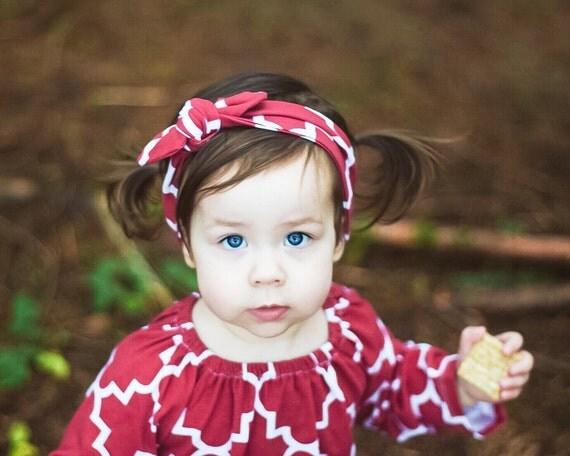 Red Quatrefoil Baby Top Knot Headband Adult Knot Headband Baby Headwrap Adult Headwrap Knotted Headband Knotted Headwrap Holiday Red