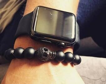 Black Onyx and Skull bracelet / Men's bracelet/ black onyx/ Micro Pave/ Skull / Bracelet