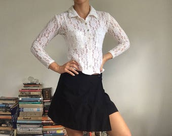 Womens White Lace Top 6-8 xs