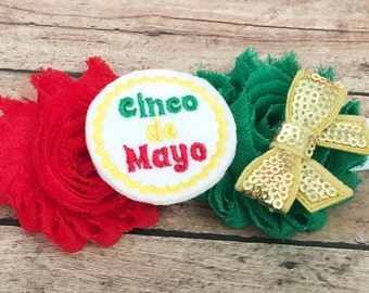 Cinco de mayo headband, mexican headband, cinco de mayo party, cinco de mayo baby, may 5th, first cinco de mayo, baby cinco de mayo, green
