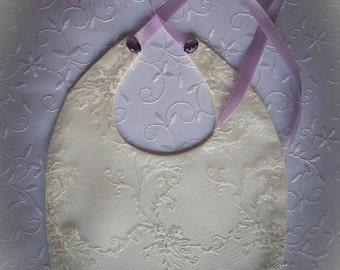 Baby Girl Baptism Bib, Ivory Lace Baby Bib, Crysal Baby Bib