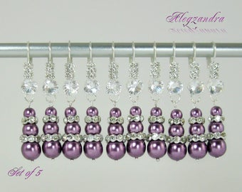 Set of 5 Bridesmaids Earrings, Pearsl and Crystals Bridesmaid Earrings, Purple Bridesmaid Jewelry Set,Bridesmaids Gifts