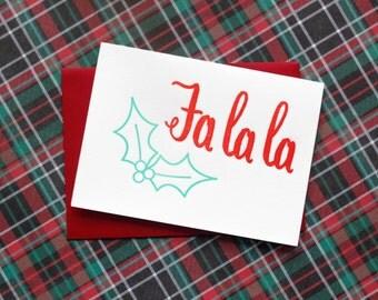 Letterpress Christmas card // Fa La La