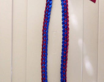 Maroon and Royal Blue Ribbon Lei (with little loops)