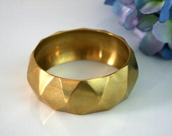 Gold bangle bracelet brass bracelet wide chunky bangle vintage statement bracelet