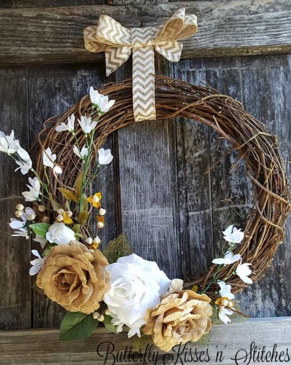 Floral Burlap Wreath/Front Door Wreath/Year round Wreath/Wreath For Door/ Burlap Wreath/ Fall Wreath/Rose accent/Fall Decor/Wreath