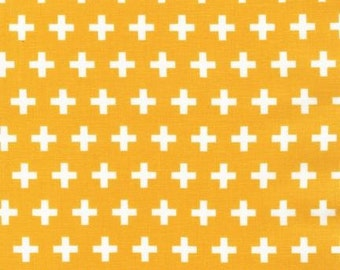 Yellow Plus Sign fabric - Remix by Ann Kelle for Robert Kaufman - modern quilt fabric, modern basic, yellow geometric, Summer Sun
