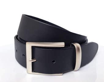 """Mens Leather Belt - 1""""1/2 - Modern Matt Silver Buckle - Mens Black Belt - Mens Belt - Leather Belt - Custom Belt"""