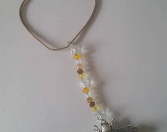 Silver Bumble-Bee suncatcher with glass crystals