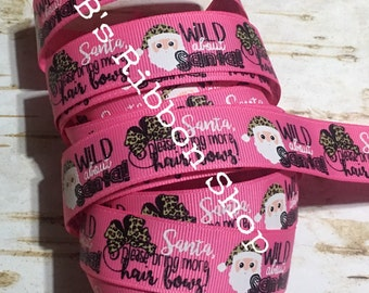 "7/8"" Wild About Santa on Hot Pink USDR grosgrain ribbon Christmas"