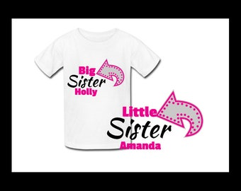 Big Sister Little Sister - Matching sister t-shrits - sister Shirts - Big Sister Gift - Pregnancy Announcement - New Baby