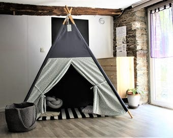 teepee, kids teepee, tipi, tipi enfant, grey teepee, gray teepee, playhouse, playtent, NO WOOD POLES