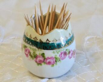 Egg Shaped Toothpick Holder, Miniature Bud Vase, Bobby Pin Holder, Pink Floral Garland Toothpick Holder, Vanity Decor