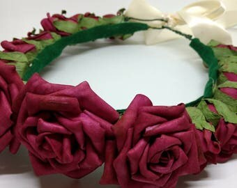 Red Rose Flower Crown with Bow
