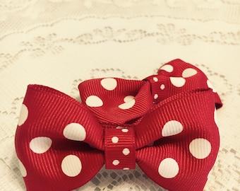 Girls Red & White Polka Dot Hair Bow