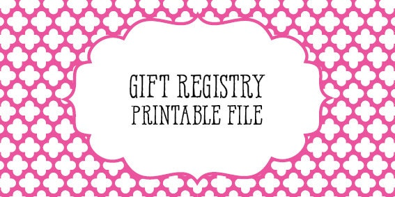 Gift Registry Wedding Checklist Printable Digital Download
