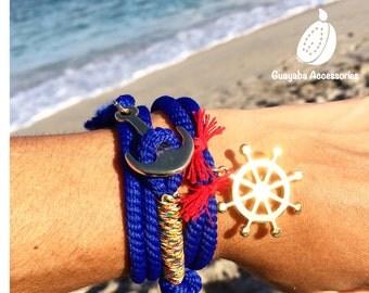 Handmade cord bracelet. Anchor and Timon bracelet. Ocean Bracelet. Free Shipping to USA