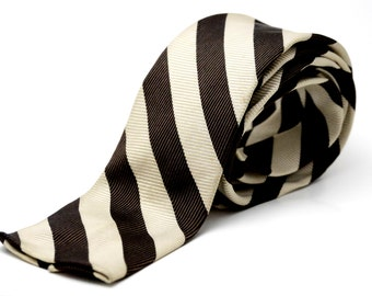 Vintage 1950 Men's Square Bottom Striped Brown Necktie - Skinny Mid Century Tie Retro Diagonal Stripes - Beau Brummel - Cream & Chocolate