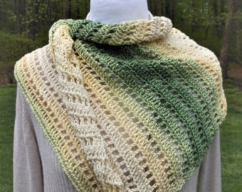crochet asymmetrical scarf, handmade open weave wrap, lightweight shawl of greens, yellows & cream, ladies summer accessory, gifts for her