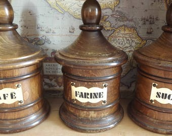 French cannisters cafe, sucre, farine sugar flour coffee solid wood vintage