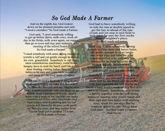 God Made A Farmer Custom Farm Photo Paul Harvey Canvas or Wood Sign - Christmas, Father's Day Gift, FFA, Birthday Gift
