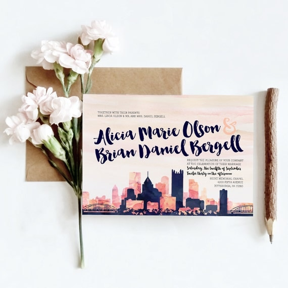Personalized Skyline Wedding Invitations: SAMPLE Watercolor Skyline Wedding Invitations 4 Piece
