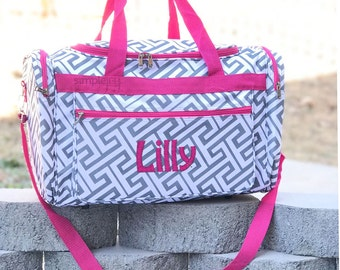 4 Colors! Greek Key Duffle Bag - Personalized Duffle Bag - Geometric Duffle bag - Women Large Overnight Bag - Carry On - Hospital Bag - Tote