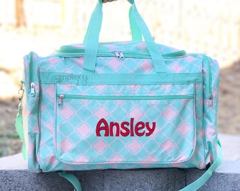 3 colors - Quatrefoil DUFFLE Bag - Coral Duffle Bag - Teal Duffle Bag - Women Overnight Bag - Personalized Duffle Bag - Carry On - Mint Bag