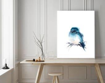 Print of turquoise bird, little bird painting, watercolor painting art, minimalist art, bird wall art