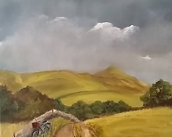 Irish countryside, Oil painting of typical Irish hillside, Bicycle on the hill, Stormy Irish skies, Original artwork, Lay-bye oil painting