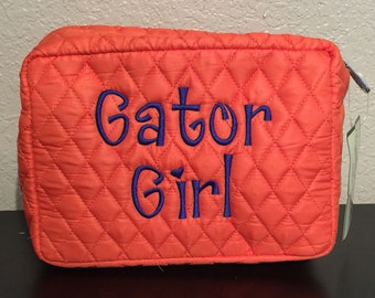 Monogrammed Make Up Case Cosmetic Case Toiletry Bag Quilted Solid Orange