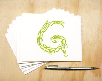 Letter G Stationery - Set of 6 Block Printed Cards - Choose Your Color - Personalized Gift - MADE TO ORDER
